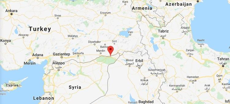 Vị trí thị trấn Qahtaniyah ở biên giới phía bắc Syria. Đồ họa: Google Maps.