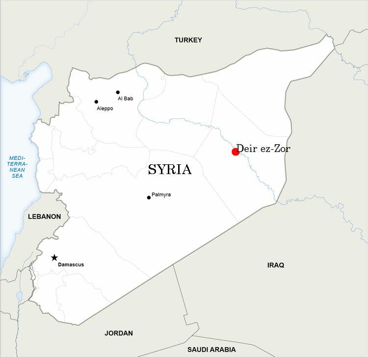 Vị trí tỉnhDeir ez-Zor của Syria. Đồ họa: RussiaBeyon.