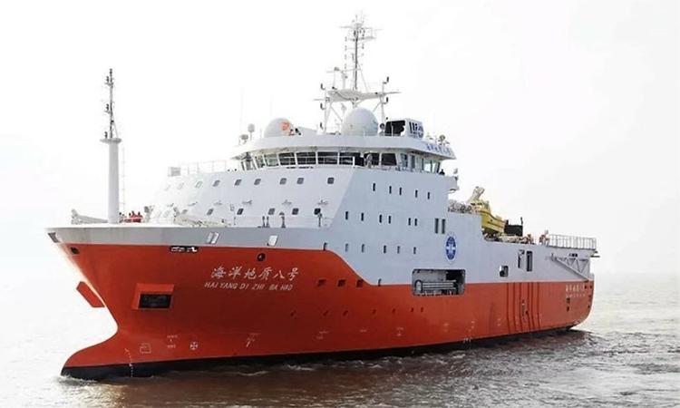 Tàu Hải Dương 8 của Trung Quốc vi phạm vùng đặc quyền kinh tế và thềm lục địa Việt Nam ở Nam Biển Đông đầu tháng 7/2019. Ảnh: Bloomberg.