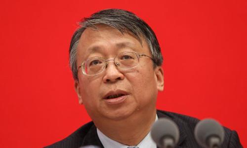Shen Chunyao, giám đốc Ủy ban Luật cơ bản của Hong Kong và Macau phát biểu tại cuộc họp báo ở Bắc Kinh, Trung Quốc hôm nay. Ảnh: SCMP.