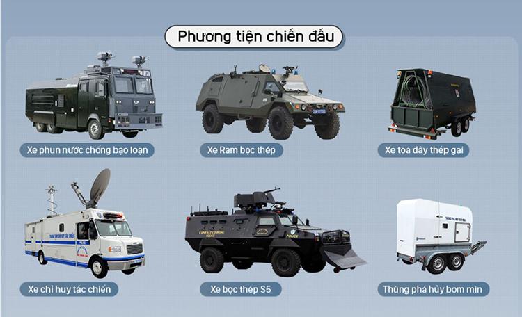 Các loại vũ khí và phương tiện trang bị cho cảnh sát cơ động hiện nay. Đồ họa: Bá Đô - Tạ Lư.