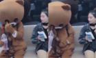 Cô gái ngÆ¡ ngác khi thấy gấu bông Än uá»ng bằng mắt
