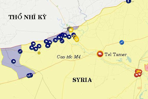 Vị trí thị trấn Tel Tamer án ngữ đường cao tốc M4. Đồ họa: Liveuamap.