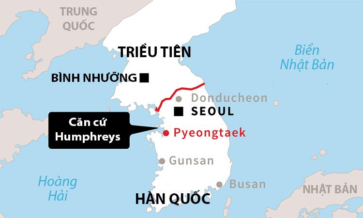 Vị trí căn cứ Humphreys của Mỹ tại Hàn Quốc. Đồ họa: Asia Times.