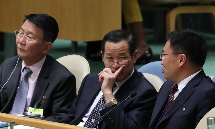 Các nhà ngoại giao Triều Tiên tại Đại hội đồng Liên Hợp Quốc ở New York hồi tháng 9/2018. Ảnh: Yonhap.