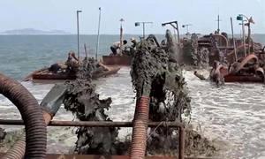 3 sà lan hút cát lậu trên biển Cần Giờ
