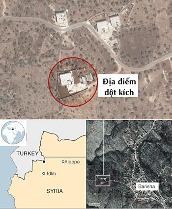 Nơi ở của Baghdadi khi bị đột kích vào tháng 10. Đồ họa: BBC.