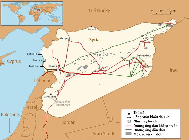 Vị trí các mỏ và cơ sở dầu khí trọng yếu của Syria. Đồ họa: EIA.
