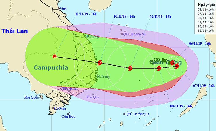 Đường đi của bão Nakri theo nhận định của Trung tâm dự báo khí tượng thủy văn quốc gia lúc 16h ngày 6/11. NCHMF