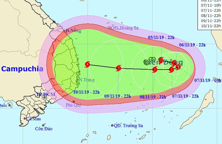 Đường đi của áp tháp nhiệt đới theo nhận định của Trung tâm dự báo khí tượng thủy văn quốc gia. Ảnh: