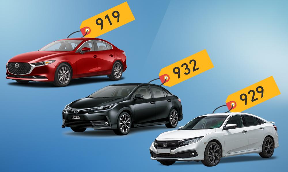 Mazda3, Civic và Altis - cuộc đấu sedan giá hơn 900 triệu