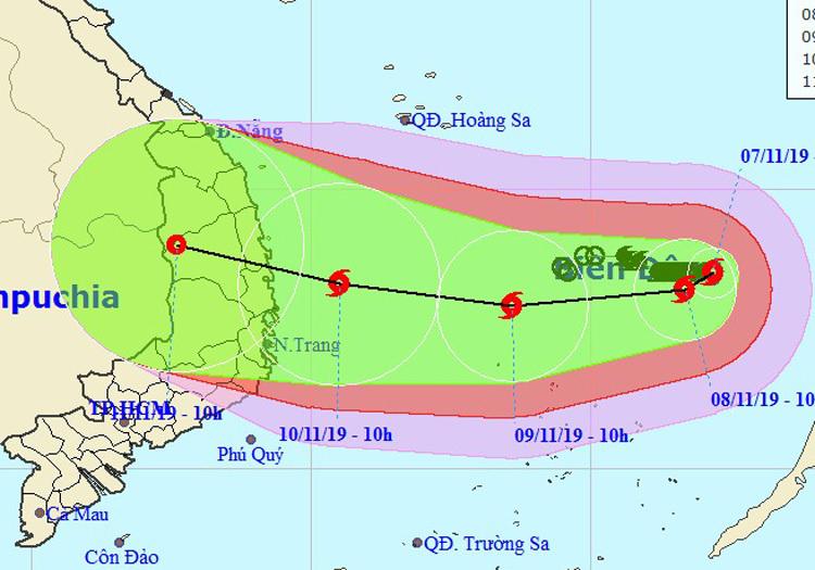 Hướng đi của bão Nakri theo dự báo của cơ quan khí tượng Việt Nam.