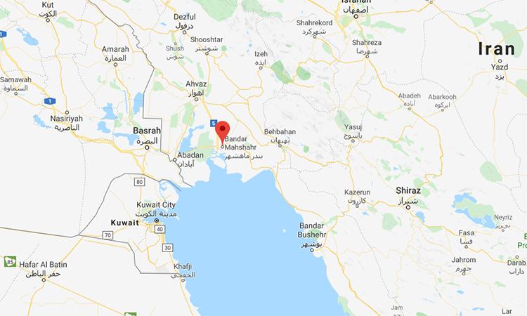 Vị trí thành phố Bandar Mahshahr của Iran (đánh dấu màu đỏ) trên bản đồ. Đồ họa: Google.
