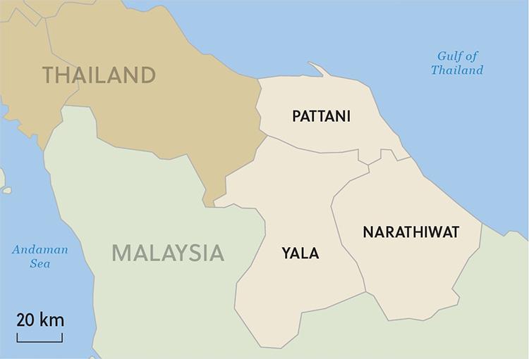 Vị trí ba tỉnh miền nam Thái Lan nơi xảy ra đụng độ giữa phiến quân Hồi giáo và lực lượng chính phủ. Đồ họa: Asia Times.