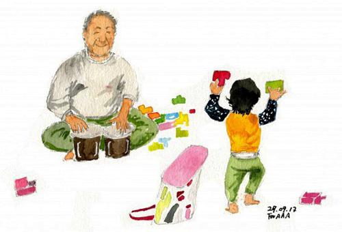 Bức vẽ Ông nội và Astro(2017) của ôngChan Jae Lee.