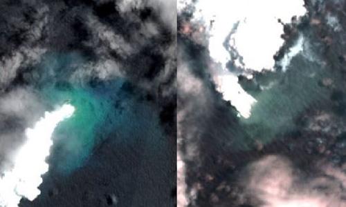 Ảnh chụp vệ tinh vào thời điểm núi lửa phun trào. Ảnh: Guardian.