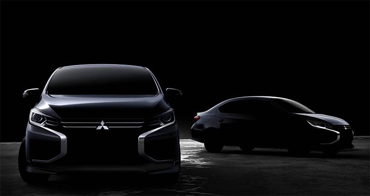Hỉnh ảnh lộ diện thiết kế mới của Mitsubishi Mirage (trái) và Attrage (phải). Ảnh: Mitsubishi.