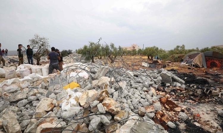 Căn nhà thủ lĩnh IS ẩn náu ở Barisha bị Mỹ san phẳng ngày 27/10. Ảnh: AFP.