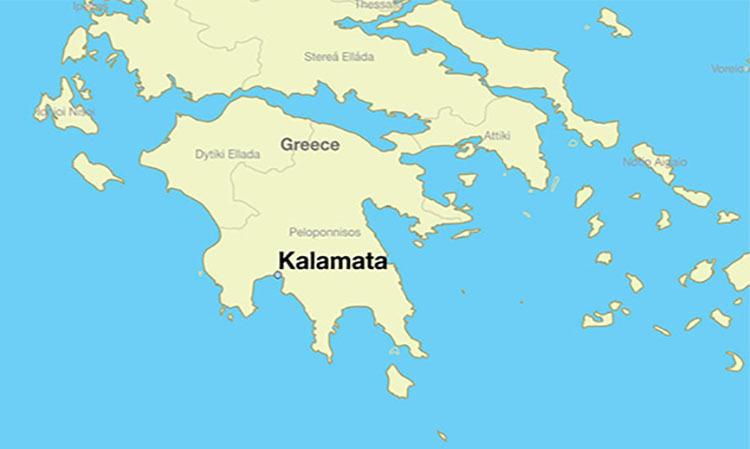 Vị trí thành phố Kalamata trên bản đồ Hy Lạp. Đồ họa: Worldatlas.