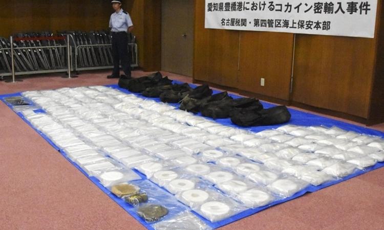 177kg cocaine bị thu giữ ở thành phố Toyohashi, tỉnh Aichi, Nhật Bản hồi tháng 8. Ảnh: Kyodo News.