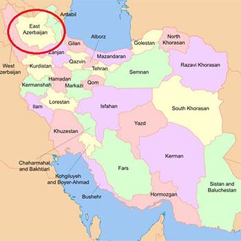 Vị trí tỉnh Đông Azerbaijan trên bản đồ Iran. Đồ họa: Wikiwand.