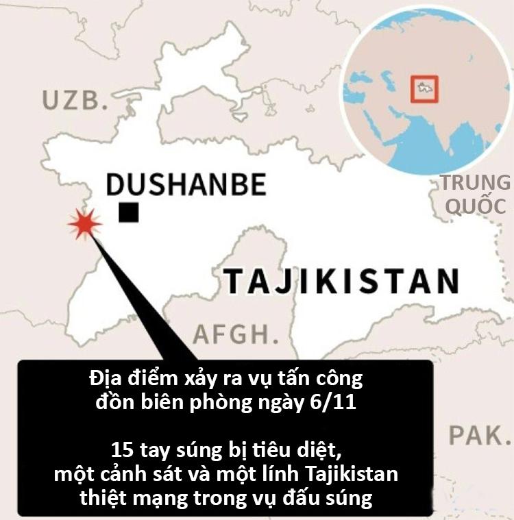 Địa điểm xảy ra vụ tấn công hôm 6/11. Đồ họa: AFP.