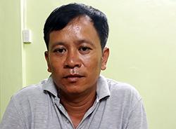 Trần Trọng Trúc tại cơ quan điều tra. Ảnh: Thanh Phong