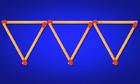Di chuyển 3 que diêm nào để được 4 hình tam giác bằng nhau?