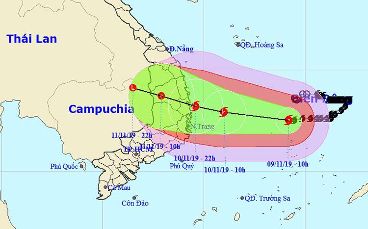 Đường đi của bão Nakri theo của Trung tâm dự báo khí tượng thủy văn quốc gia lúc 10h ngày 9/11. Ảnh: NCHMF.