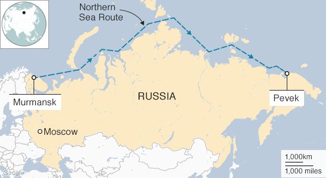 Tuyến đường Biển Bắc ở phía bắc Nga. Đồ họa: BBC.