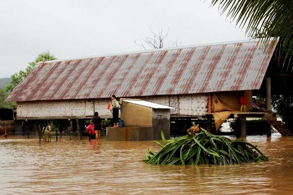Những căn nhà ở buôn Yang Lăh, xã Đăk Liêng, huyện Lăk,sáng 11/11. Ảnh: Ngọc Oanh.