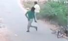 Hai thanh niên vứt xe đạp bỏ chạy vì tông phải rắn