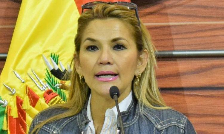 Bà Anez phát biểu tại một sự kiện ở La Paz hồi đầu năm. Ảnh: Elcomercio.