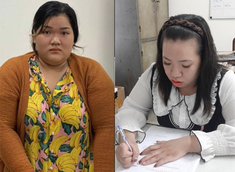 Từ trái qua, Trần Phạm Ngọc Châu và Lê Thị Thu Thảo tại cơ quan công an. Ảnh: N.T.