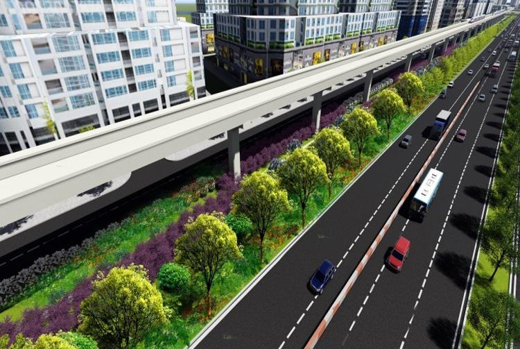 Phối cảnh mảng xanh dọc đoạn trên cao tuyến Metro Số 1. Ảnh: MAUR
