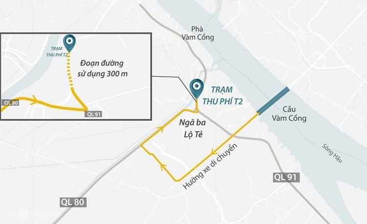 Vị trí trạm BOT T2. Ảnh:Thanh Huyền.