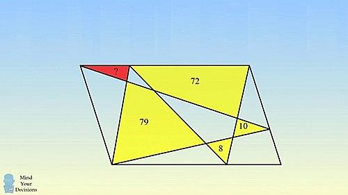 Thử sức với bài toán tính diện tích hình tam giác đỏ