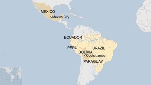 Vị trí các quốc gia Mỹ Latin. Đồ họa: BBC.
