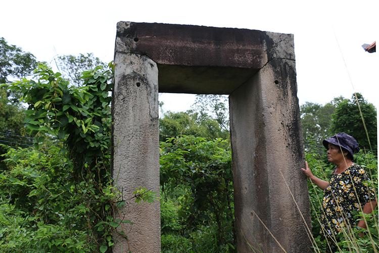 Trụđá cổ tại di tích Gò Xoài bị dây leo bao phủ. Ảnh: Hoàng Nam