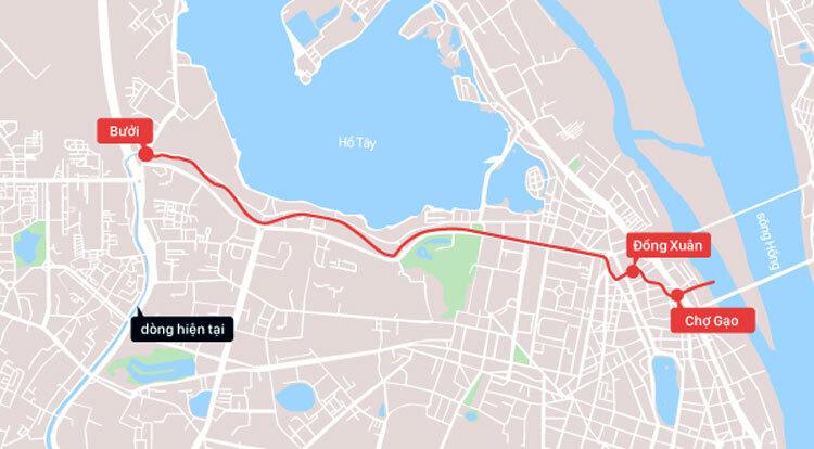 Đoạn sông Tô Lịch bị lấp (màu đỏ) kéo dài từ Chợ Gạo đến chợ Bưởi bây giờ. Dòng hiện tại (màu xanh) bắt nguồn từ Nghĩa Đô (quận Cầu Giấy) chảy xuôi xuống phía nam, đổ ra sông Nhuệ. Đồ họa: Tiến Thành.