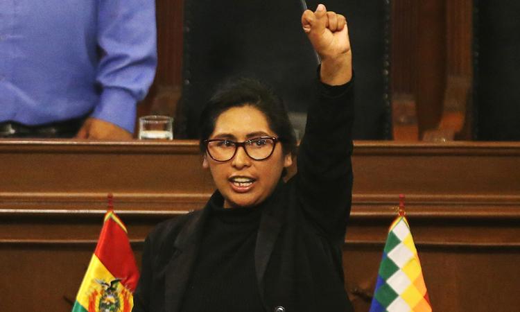 Tân chủ tịch thượng viện Bolivia Monica Eva Copa Murga tuyên thệ nhậm chức tại phiên họp của các nghị sĩ hôm 14/11. Ảnh: Reuters.