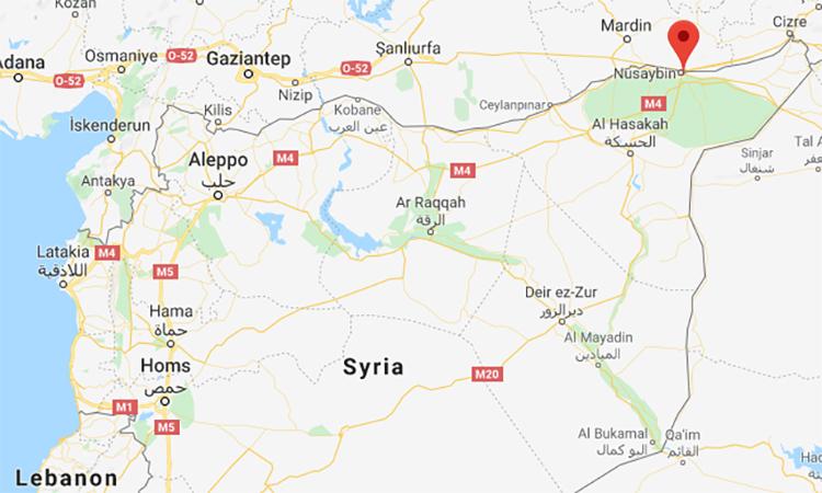 Vị trí thành phố Qamishli (đánh dấu đỏ), Syria. Đồ họa: Google.