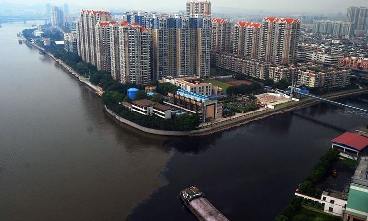 Nước sông Châu Giang chuyển sang màu đen năm 2008. Ảnh: Yangcheng Evening News.