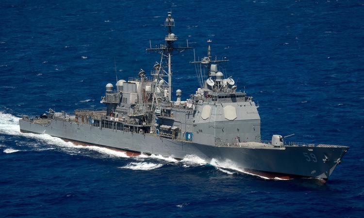 Tàu tuần dương Princeton diễn tập trên Thái Bình Dương năm 2016. Ảnh: US Navy.