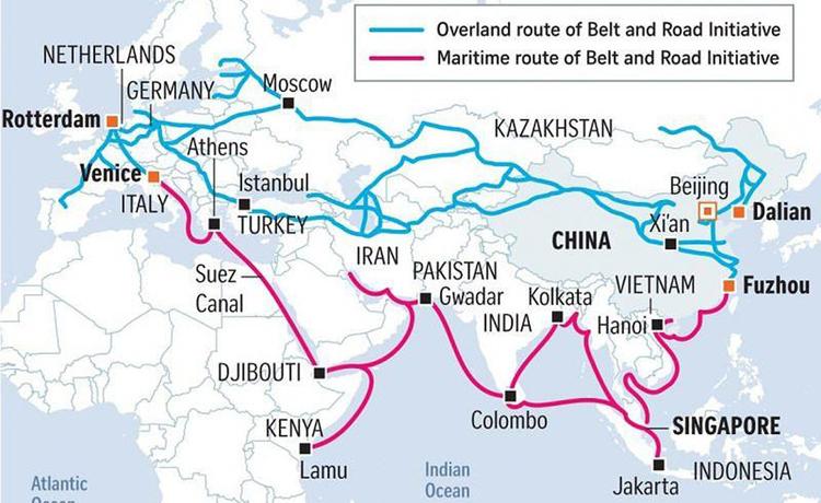 Các tuyến đường trong sáng kiến Vành đai, Con đường của Trung Quốc. Ảnh: Asia Green.