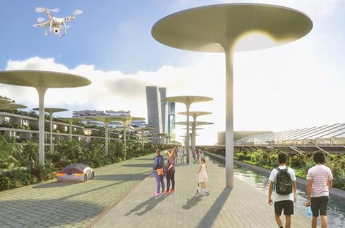 Hệ thống kênh đào, pin mặt trời và xe điện ở Smart Forest City. Ảnh: Dezeen.