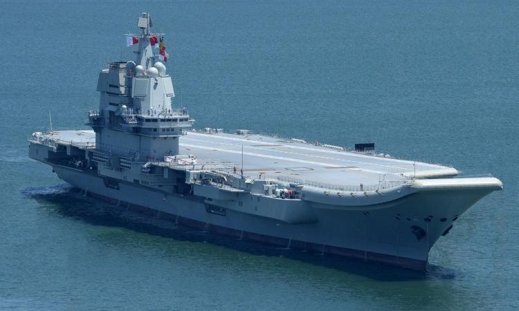 Tàu sân bay Type-001A chạy thử hồi tháng 5/2018. Ảnh: Bộ Quốc phòng Trung Quốc.