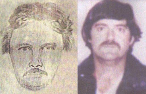 Ảnh của Edward (phải) và bản phác họa nghi phạm. Ảnh: The Roanoke Times.