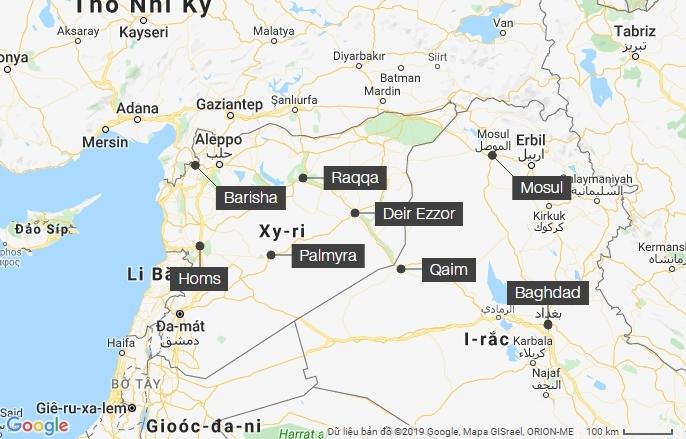 Các vị trí Baghdadi từng ẩn náu. Đồ họa: Google Maps.
