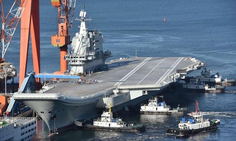 Tàu sân bay Type-001A về cảng Đại Liên, Trung Quốc sau khi chạy thử hồi đầu năm 2019. Ảnh: VCG